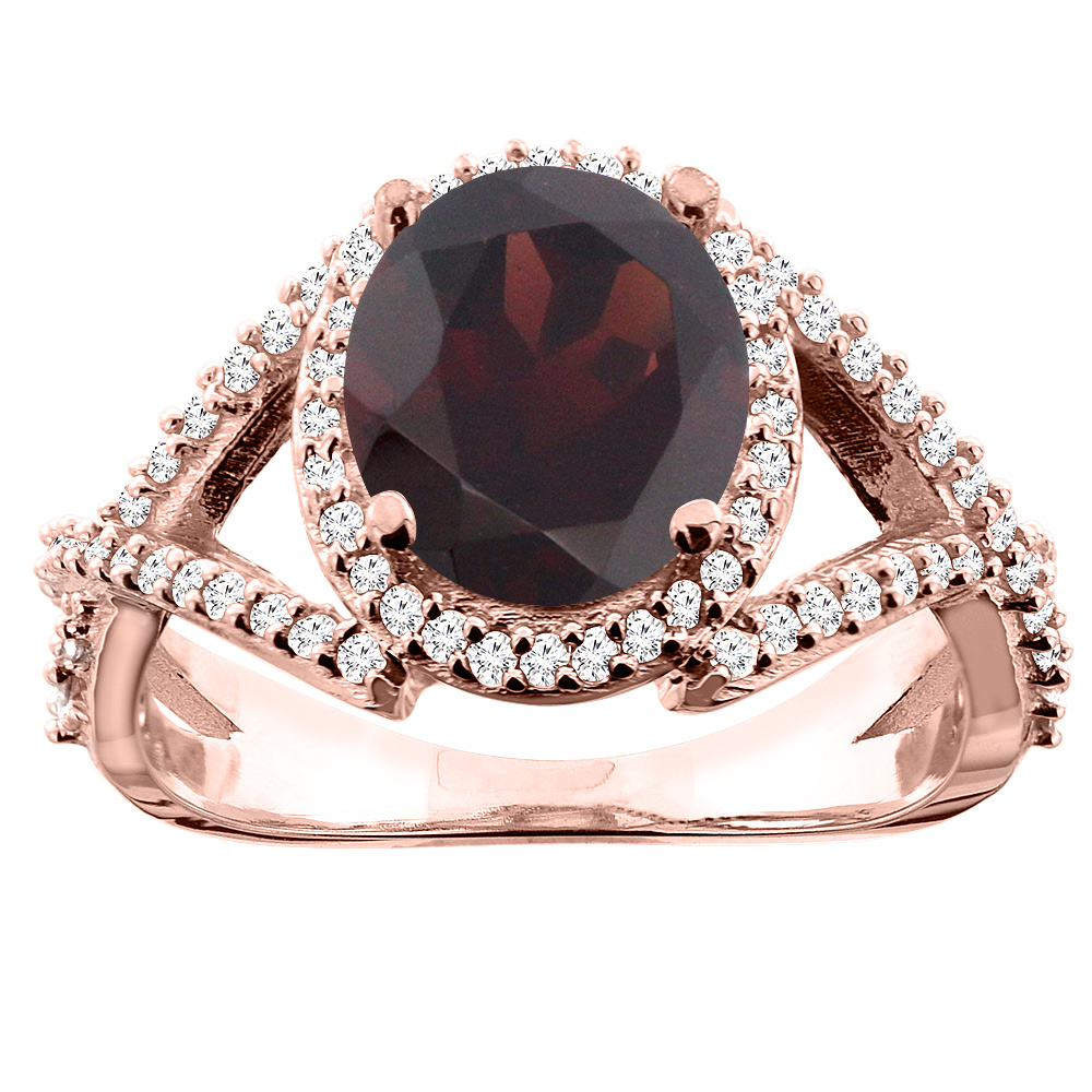 14K White/Yellow/Rose Gold Natural Garnet Ring Oval 9x7mm Diamond Accent, size 5
