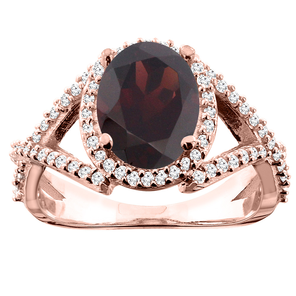 10K White/Yellow/Rose Gold Natural Garnet Ring Oval 10x8mm Diamond Accent, sizes 5 - 10