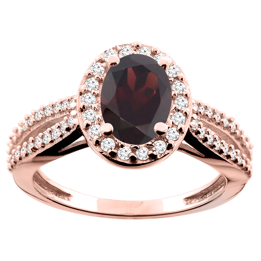 14K White/Yellow/Rose Gold Natural Garnet Ring Oval 8x6mm Diamond Accent, size 5