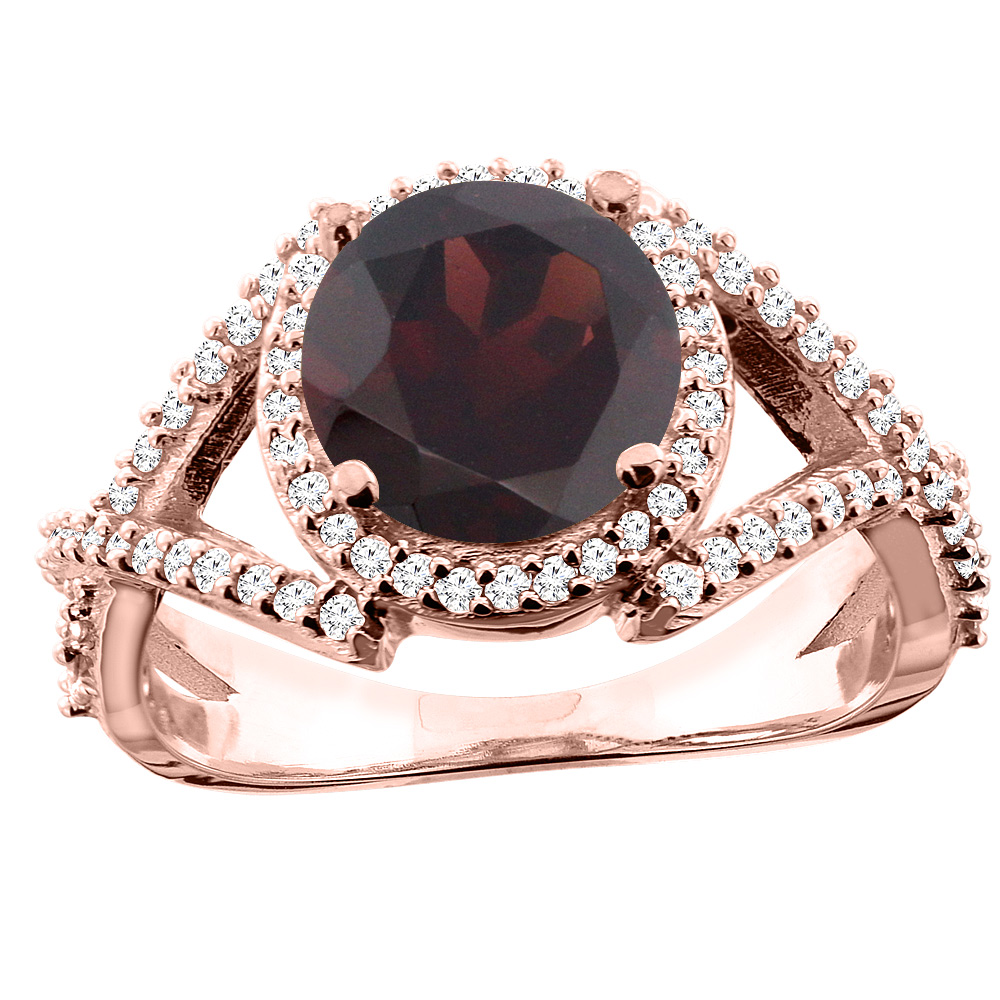 14K White/Yellow/Rose Gold Natural Garnet Ring Round 8mm Diamond Accent, size 5