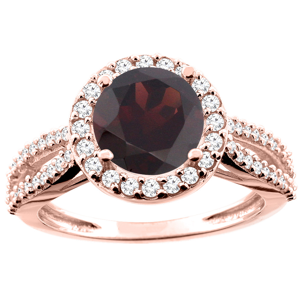 14K White/Yellow/Rose Gold Natural Garnet Ring Round 8mm Diamond Accent, sizes 5 - 10