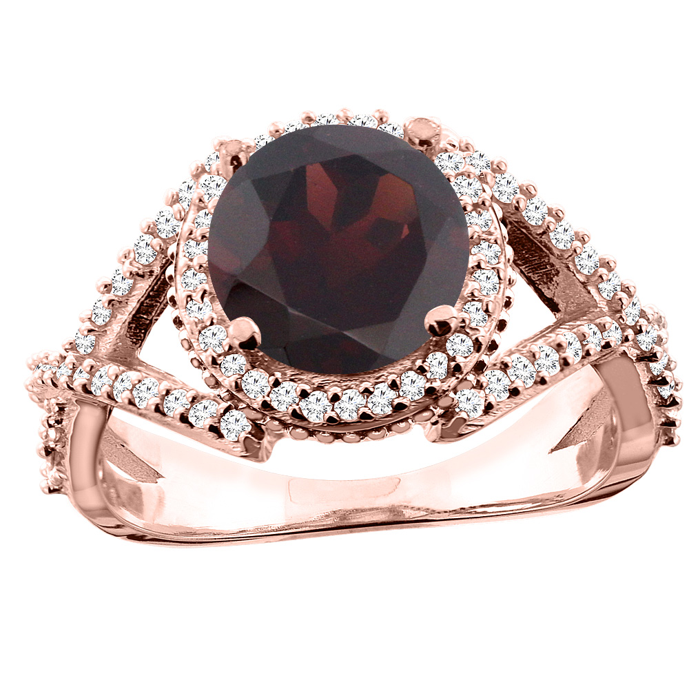 10K White/Yellow/Rose Gold Natural Garnet Ring Round 8mm Diamond Accent, sizes 5 - 10
