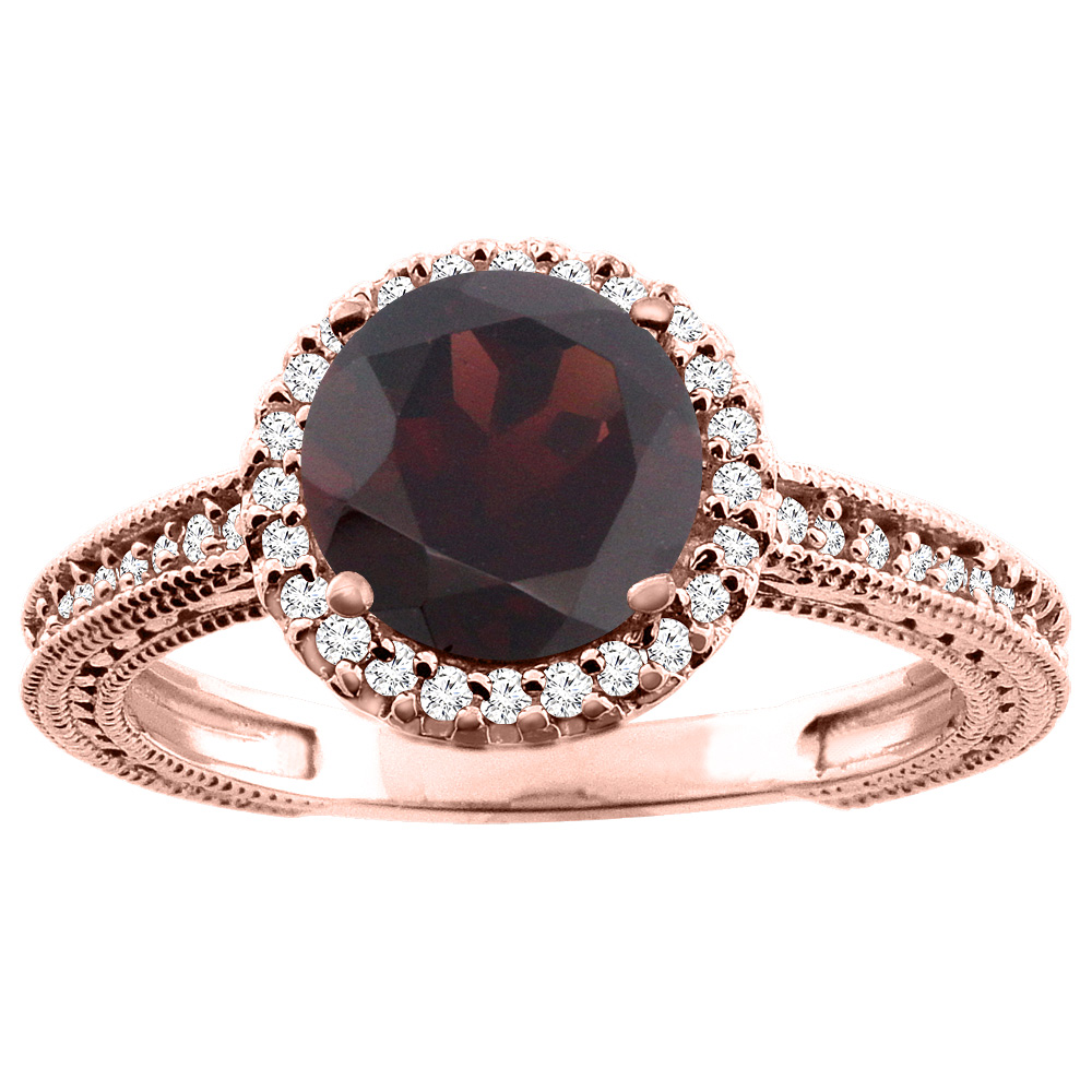14K White/Yellow/Rose Gold Natural Garnet Ring Round 7mm Diamond Accent, sizes 5 - 10
