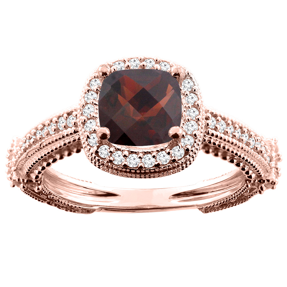 14K White/Yellow/Rose Gold Natural Garnet Ring Cushion 7x7mm Diamond Accent, sizes 5 - 10