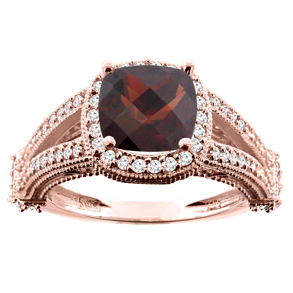 10K White/Yellow/Rose Gold Natural Garnet Split Shank Ring Cushion 7x7mm Diamond Accent, sizes 5 - 10