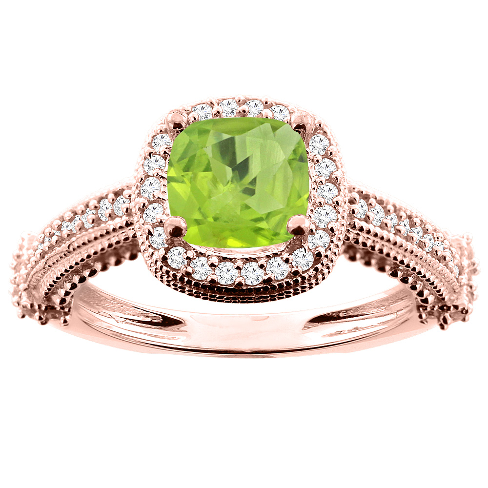 14K White/Yellow/Rose Gold Natural Peridot Ring Cushion 7x7mm Diamond Accent 7/16 inch wide, size 5