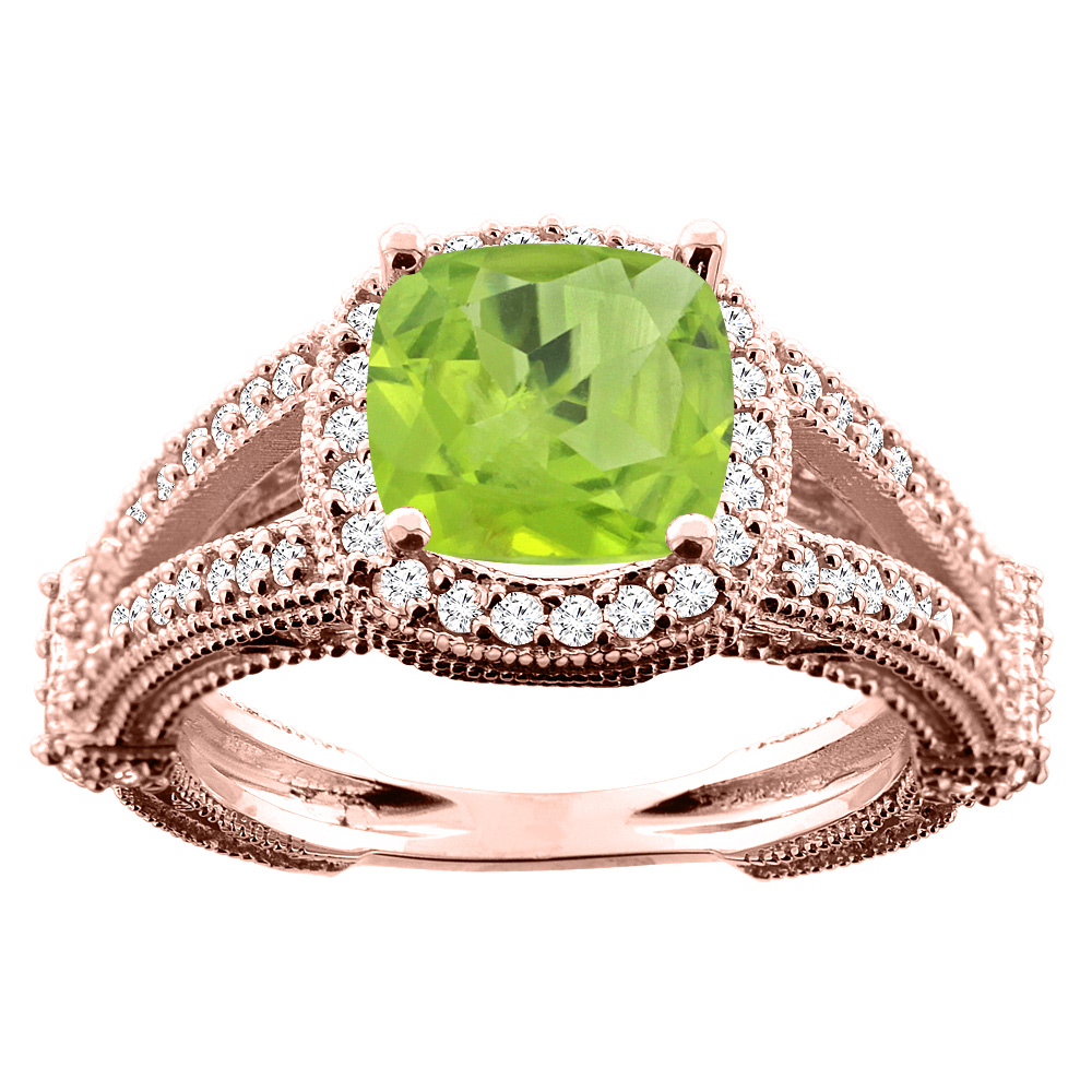 14K White/Yellow/Rose Gold Natural Peridot Cushion 8x8mm Diamond Accent 3/8 inch wide, size 5