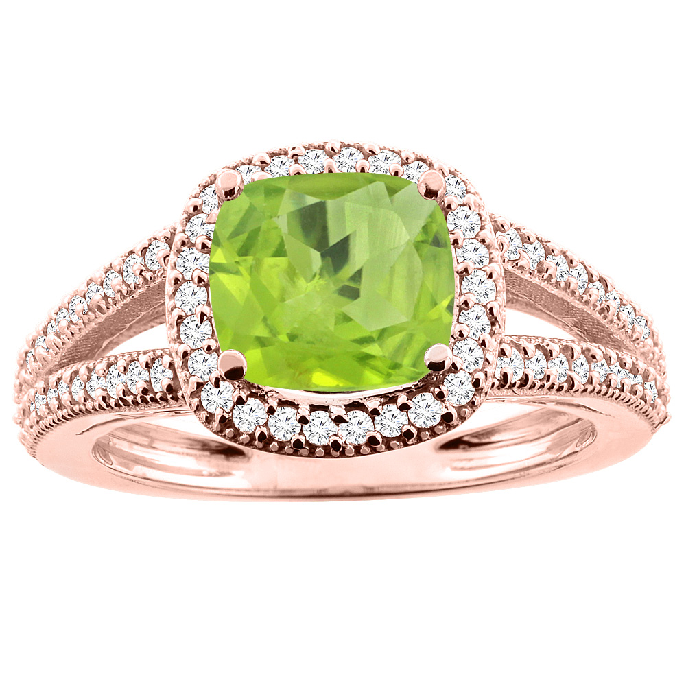 14K Rose Gold Natural Peridot Ring Cushion 7x7mm Diamond Accent 3/8 inch wide, sizes 5 - 10
