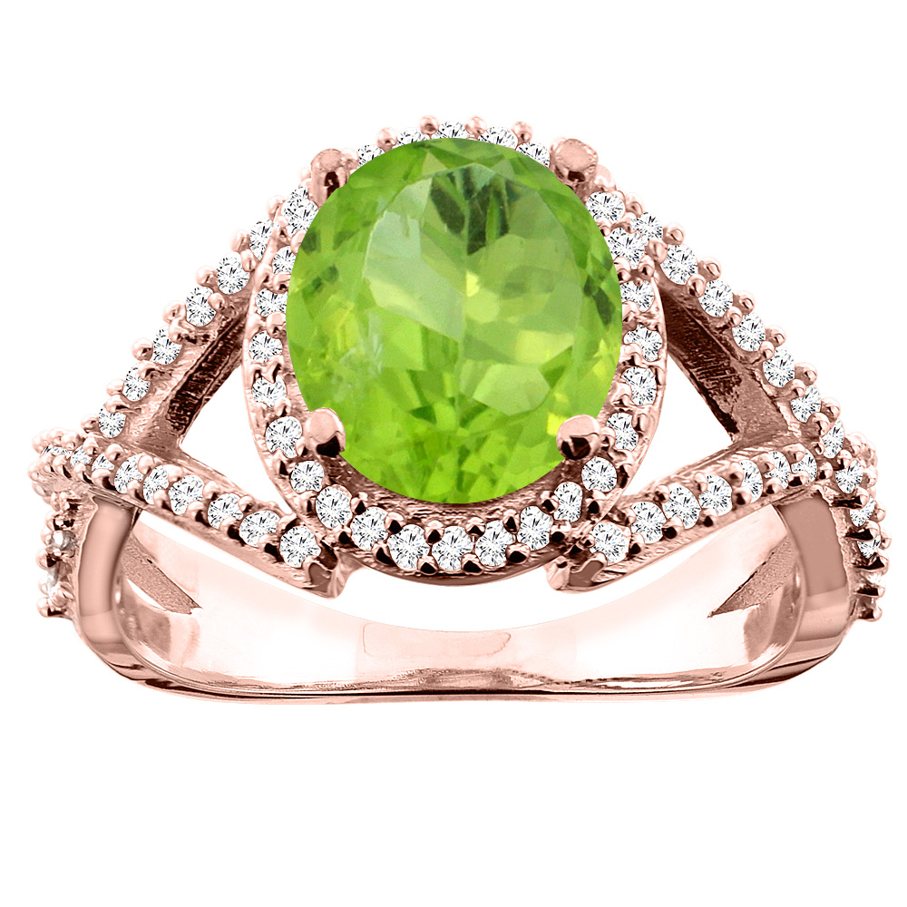 14K White/Yellow/Rose Gold Natural Peridot Ring Oval 9x7mm Diamond Accent, size 5