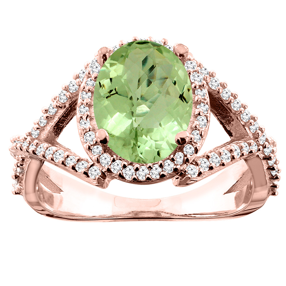 14K White/Yellow/Rose Gold Natural Peridot Ring Oval 10x8mm Diamond Accent, sizes 5 - 10