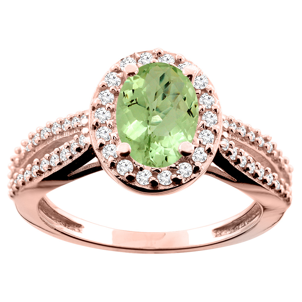 14K White/Yellow/Rose Gold Natural Peridot Ring Oval 8x6mm Diamond Accent, size 5