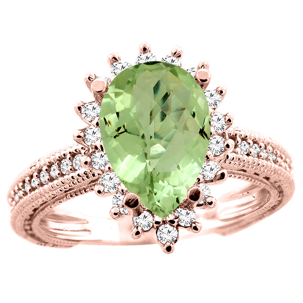14K White/Yellow/Rose Gold Natural Peridot Ring Pear 12x8mm Diamond Accent, size 5