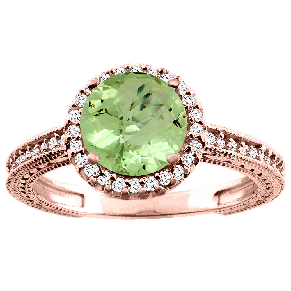 14K White/Yellow/Rose Gold Natural Peridot Ring Round 7mm Diamond Accent, sizes 5 - 10