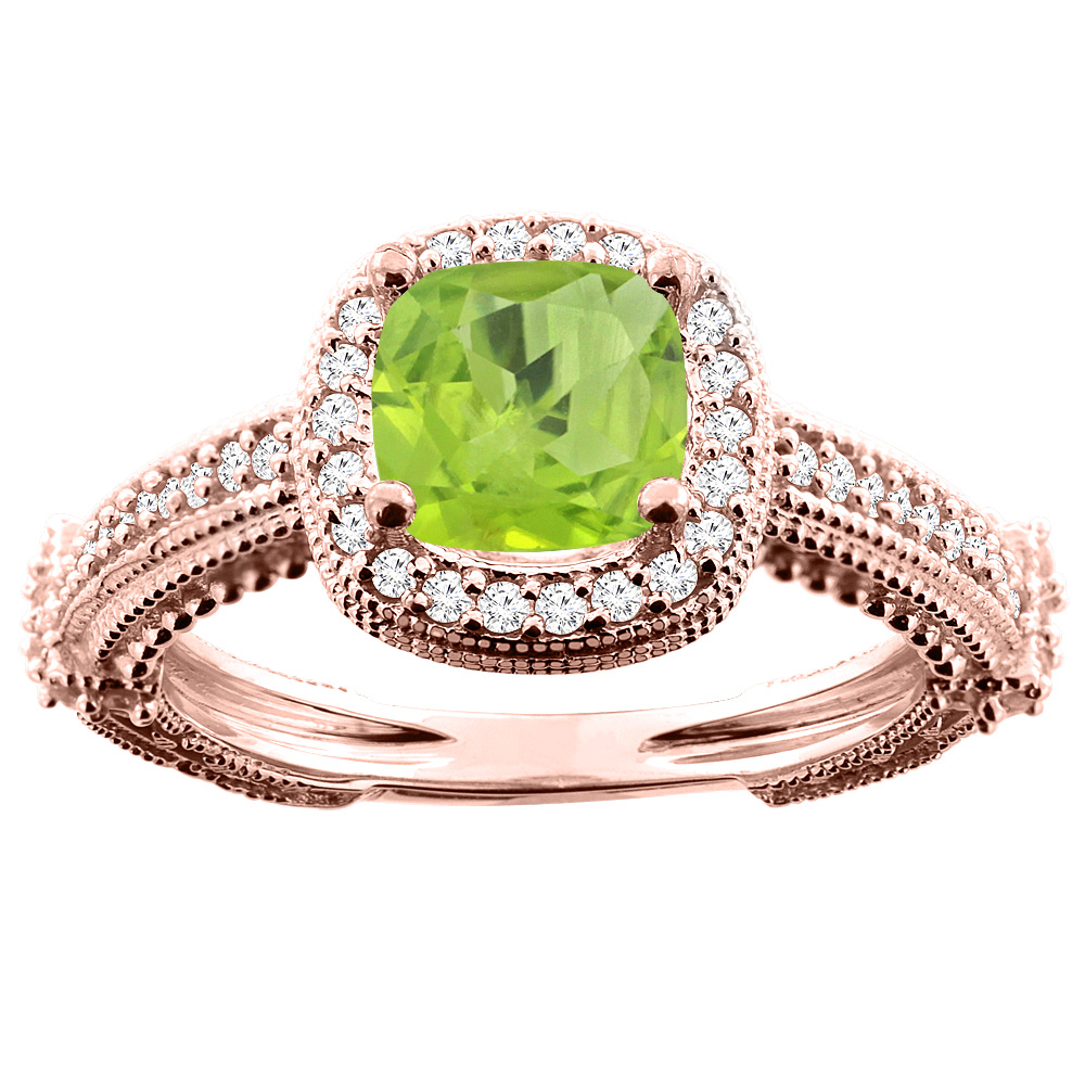 14K White/Yellow/Rose Gold Natural Peridot Ring Cushion 7x7mm Diamond Accent, sizes 5 - 10