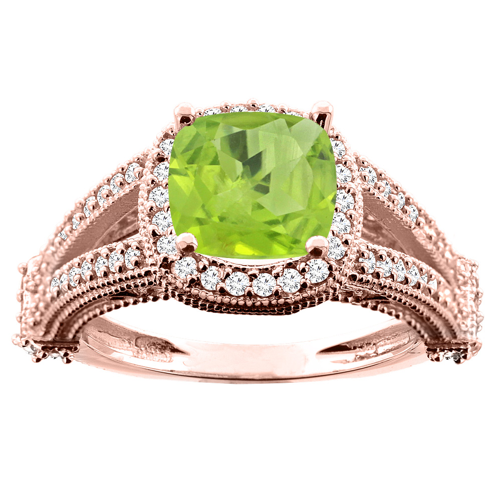 14K White/Yellow/Rose Gold Natural Peridot Split Shank Ring Cushion 7x7mm Diamond Accent, sizes 5 - 10