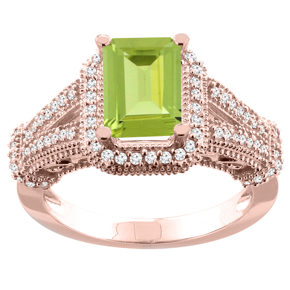 14K White/Yellow/Rose Gold Natural Peridot Ring Octagon 8x6mm Diamond Accent, sizes 5-10