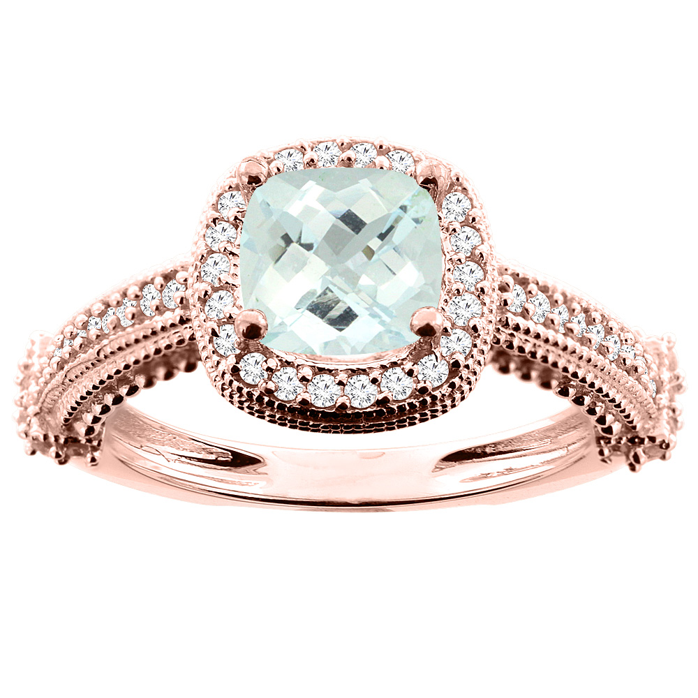 10K White/Yellow/Rose Gold Natural Aquamarine Ring Cushion 7x7mm Diamond Accent, size 5