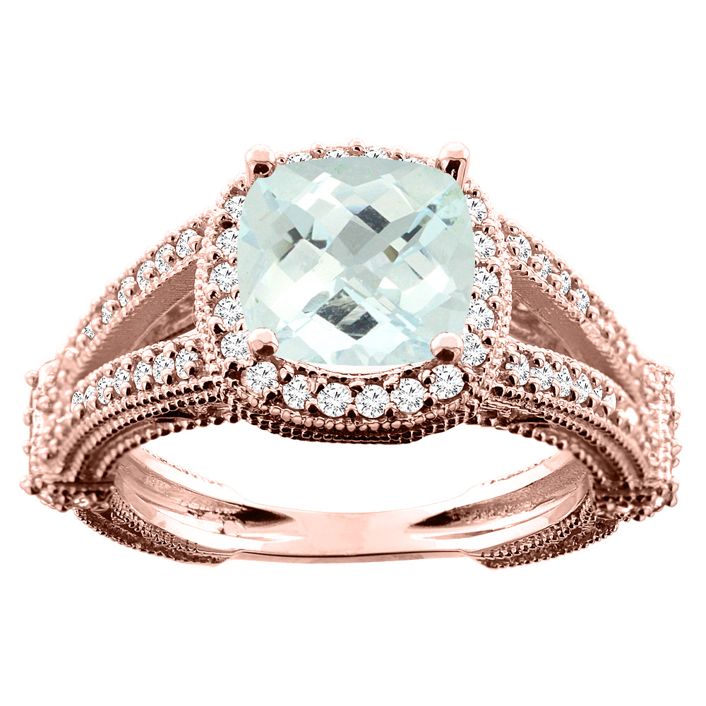 14K White/Yellow/Rose Gold Natural Aquamarine Cushion 8x8mm Diamond Accent 3/8 inch wide, size 5
