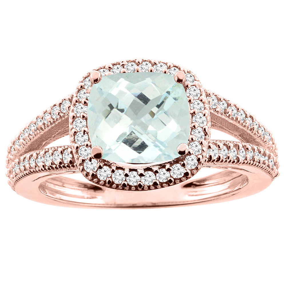 10K Rose Gold Natural Aquamarine Ring Cushion 7x7mm Diamond Accent 3/8 inch wide, sizes 5 - 10