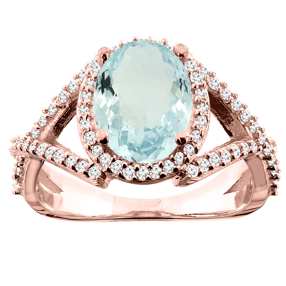 10K White/Yellow/Rose Gold Natural Aquamarine Ring Oval 10x8mm Diamond Accent, sizes 5 - 10