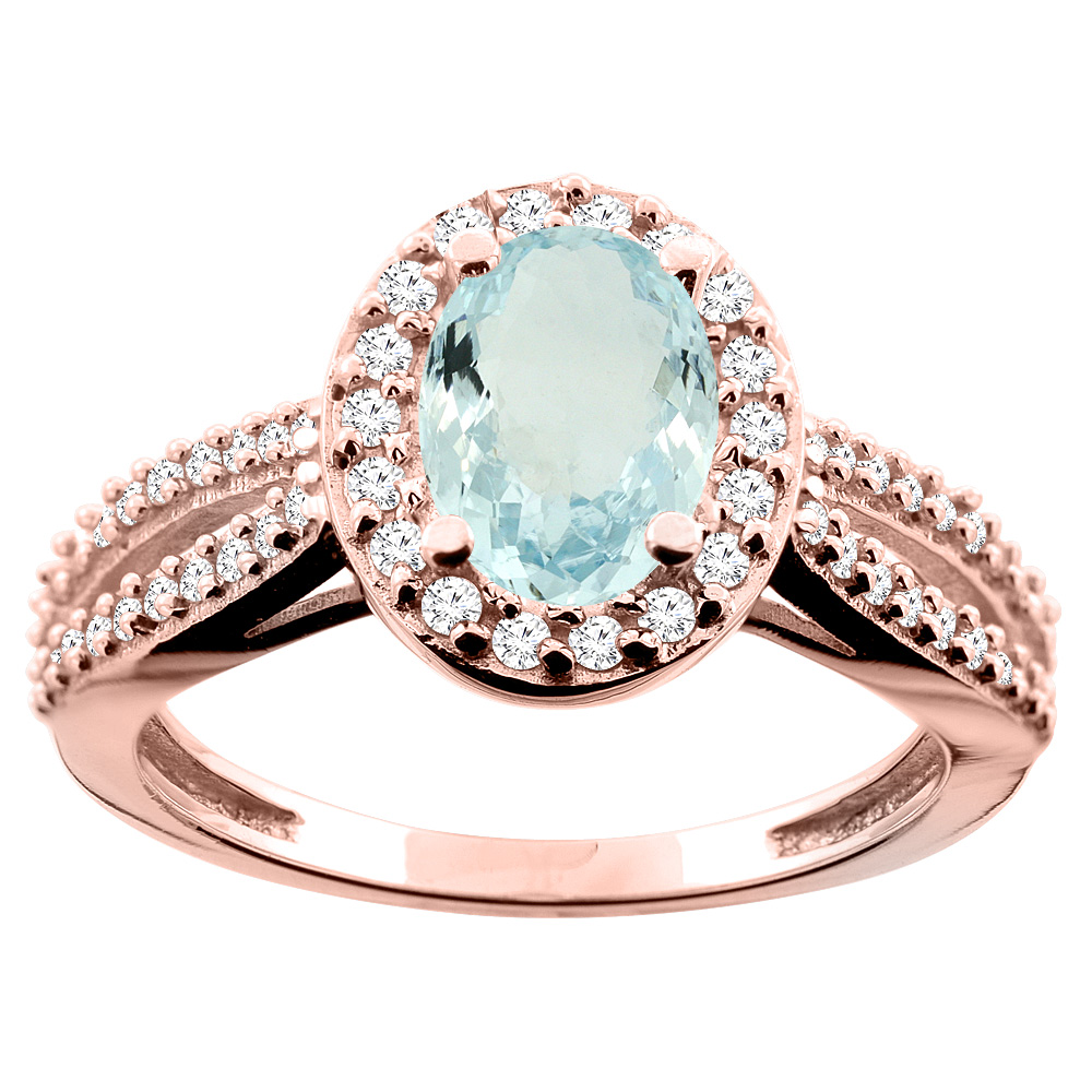 10K White/Yellow/Rose Gold Natural Aquamarine Ring Oval 8x6mm Diamond Accent, size 5