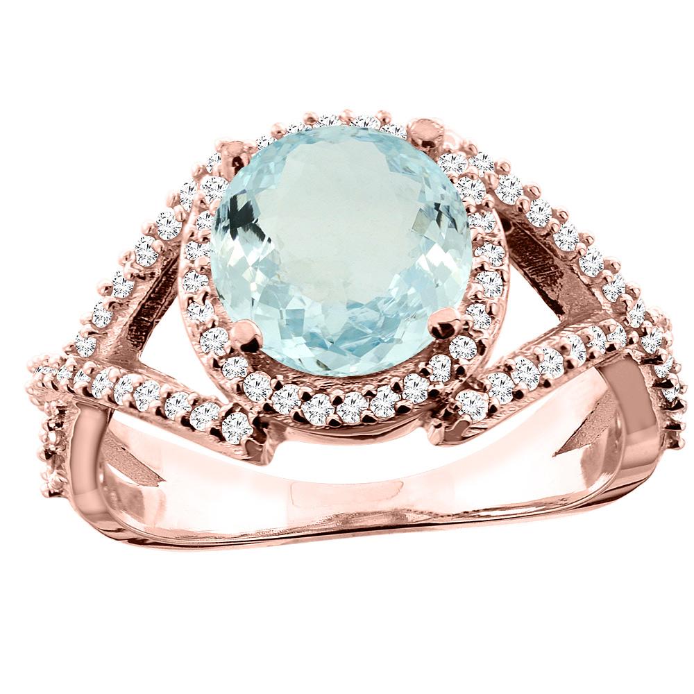 10K White/Yellow/Rose Gold Natural Aquamarine Ring Round 8mm Diamond Accent, sizes 5 - 10