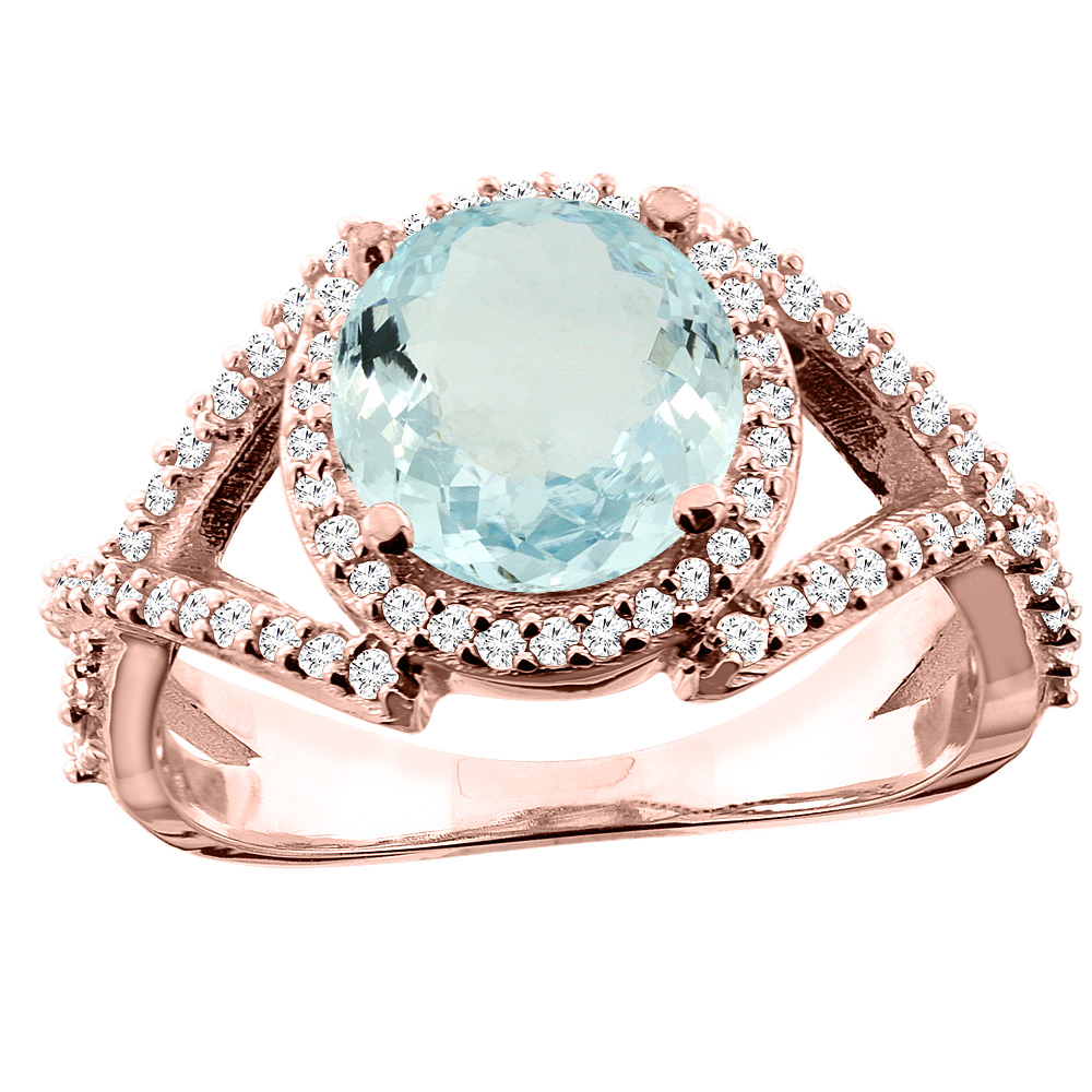 14K White/Yellow/Rose Gold Natural Aquamarine Ring Round 8mm Diamond Accent, size 5