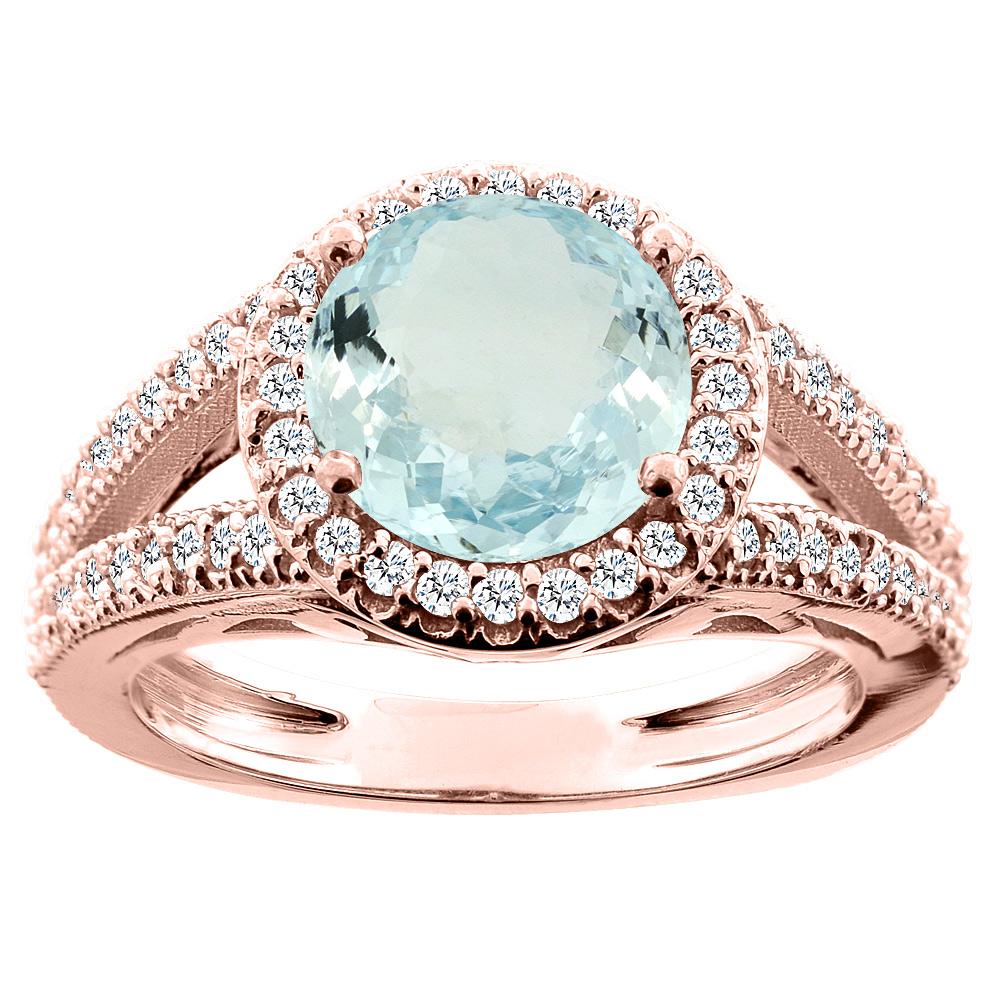 14K White/Yellow/Rose Gold Natural Aquamarine Ring Round 8mm Diamond Accent, sizes 5 - 10