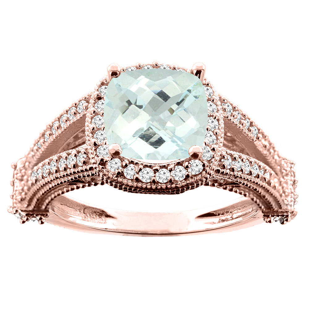 10K White/Yellow/Rose Gold Natural Aquamarine Split Shank Ring Cushion 7x7mm Diamond Accent, sizes 5 - 10