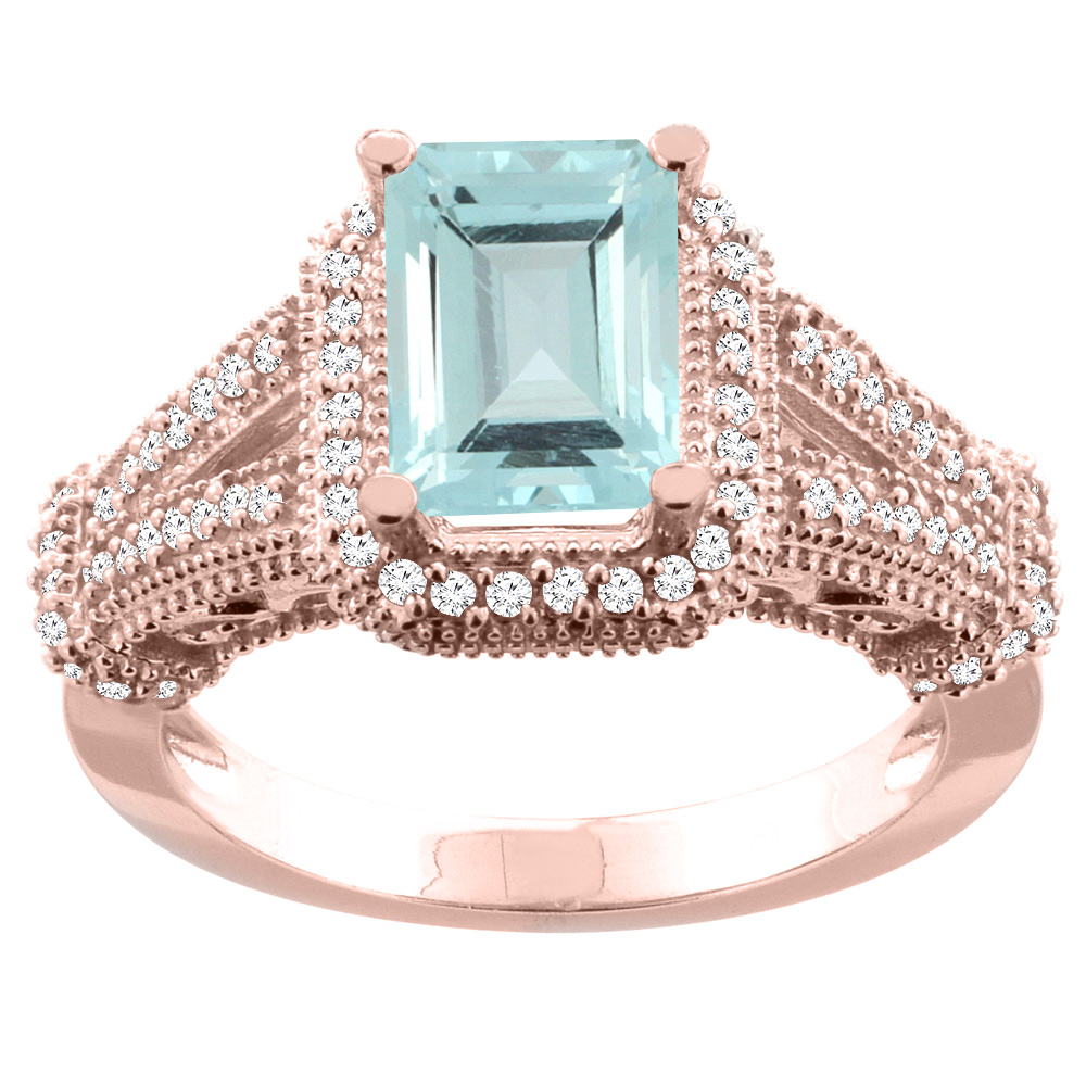 10K White/Yellow/Rose Gold Natural Aquamarine Ring Octagon 8x6mm Diamond Accent, sizes 5-10
