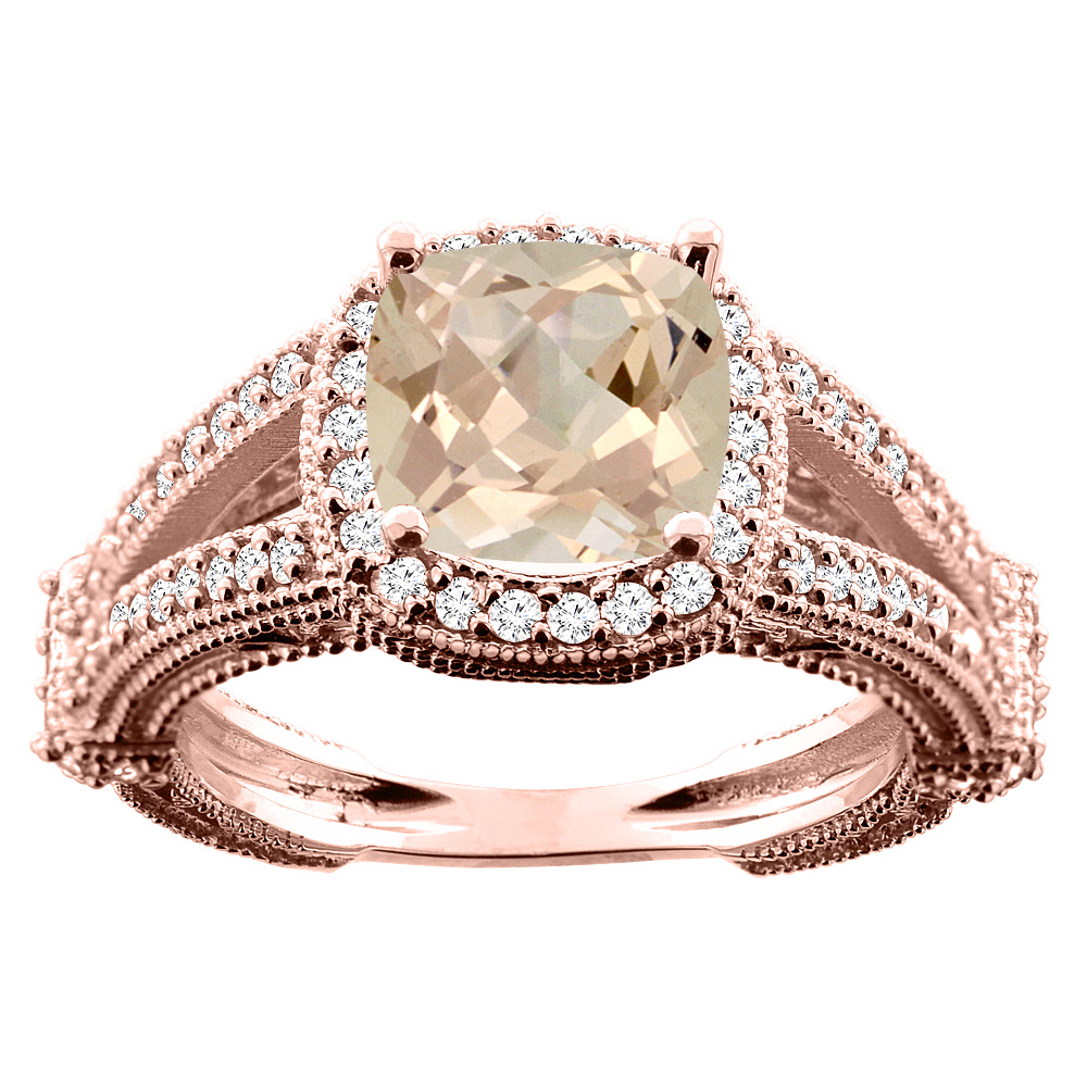 10K White/Yellow/Rose Gold Natural Morganite Cushion 8x8mm Diamond Accent 3/8 inch wide, size 5