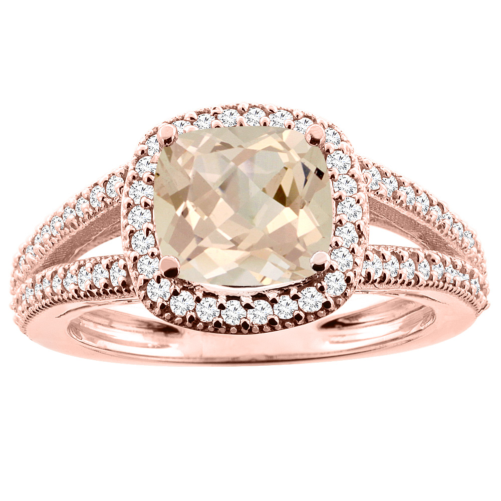 10K Rose Gold Natural Morganite Ring Cushion 7x7mm Diamond Accent 3/8 inch wide, sizes 5 - 10