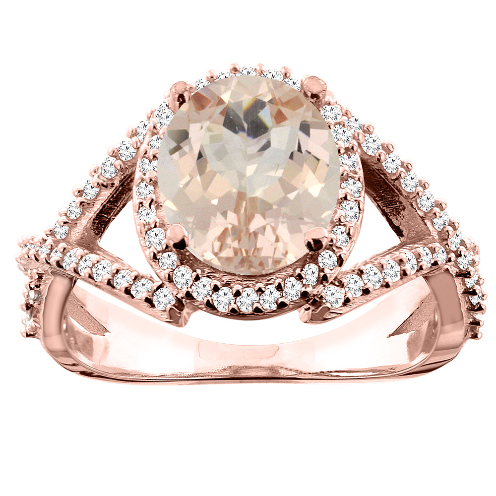 10K White/Yellow/Rose Gold Natural Morganite Ring Oval 9x7mm Diamond Accent, size 5