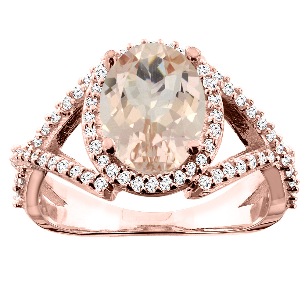 10K White/Yellow/Rose Gold Natural Morganite Ring Oval 10x8mm Diamond Accent, sizes 5 - 10