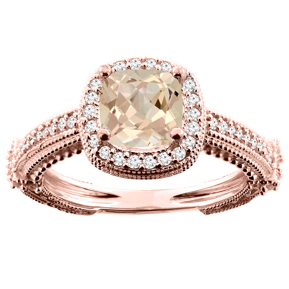 10K White/Yellow/Rose Gold Natural Morganite Ring Cushion 7x7mm Diamond Accent, sizes 5 - 10