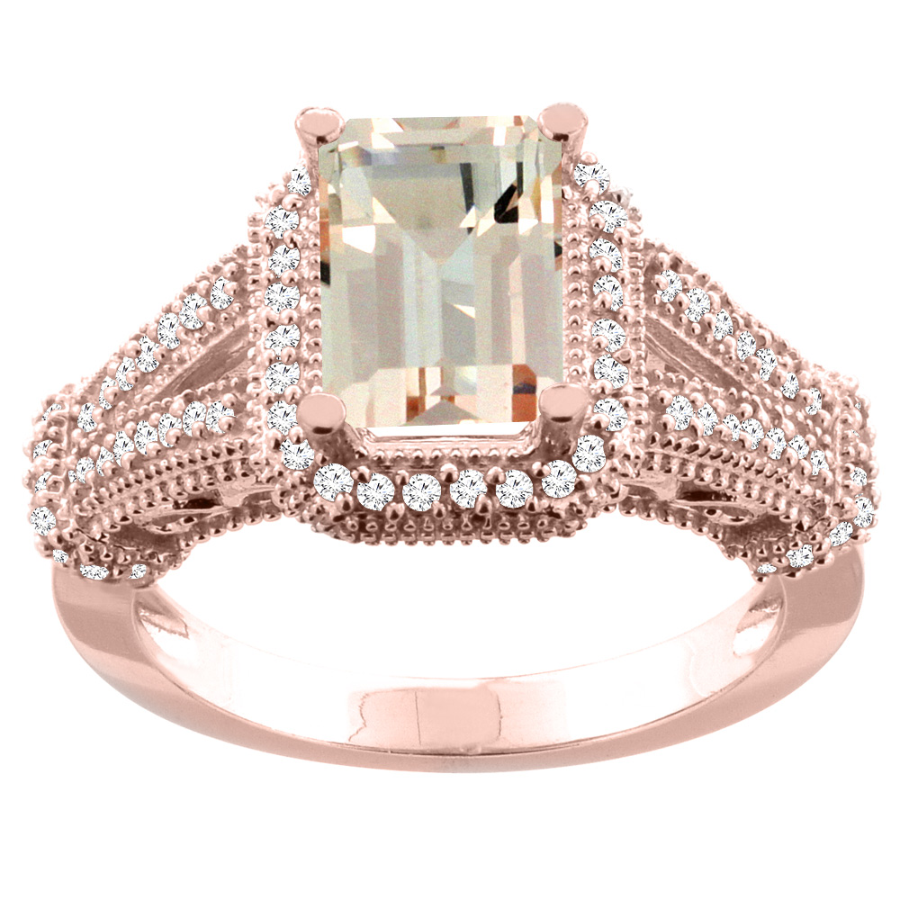 10K White/Yellow/Rose Gold Natural Morganite Ring Octagon 8x6mm Diamond Accent, sizes 5-10