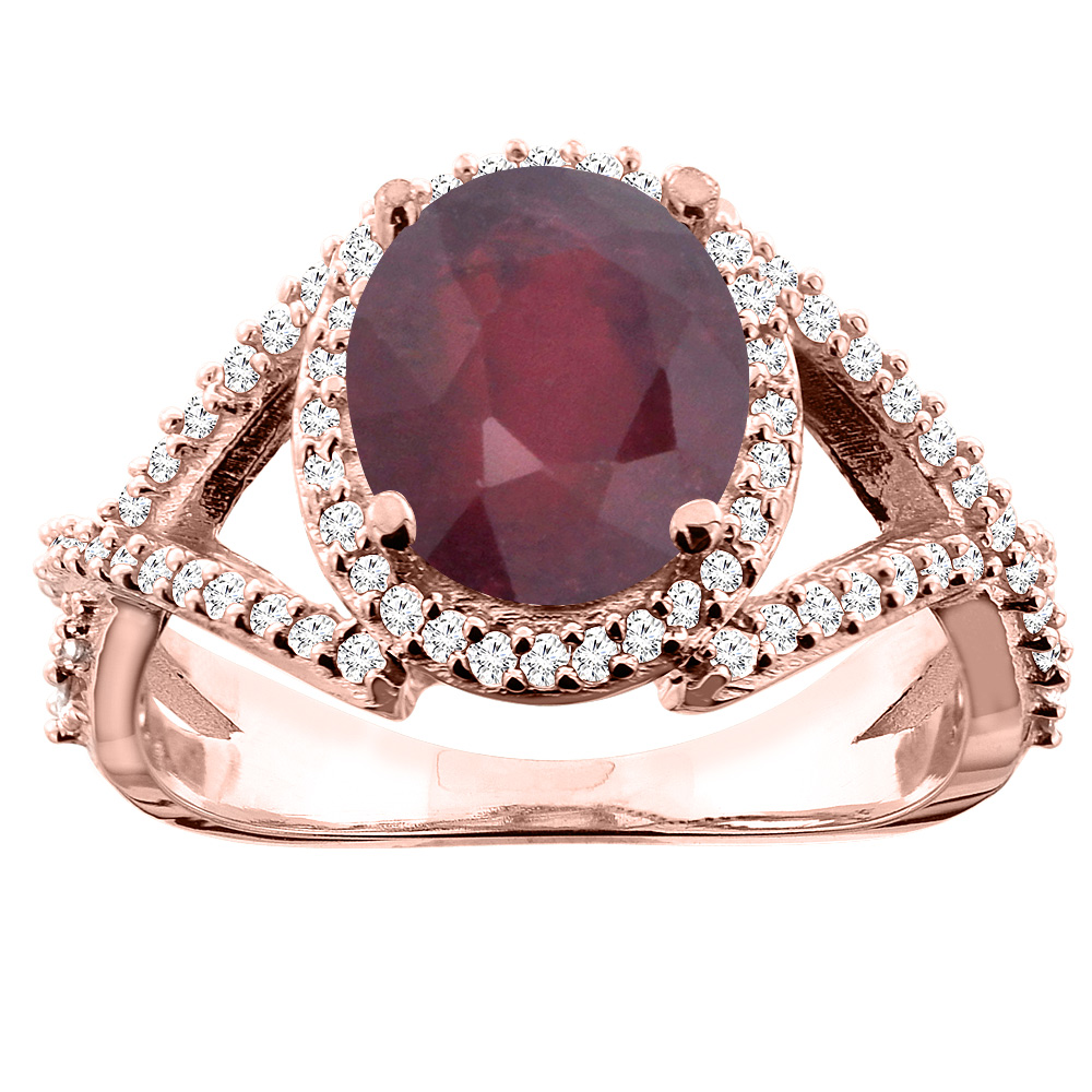 10K White/Yellow/Rose Gold Natural HQ Ruby Ring Oval 9x7mm Diamond Accent, size 5