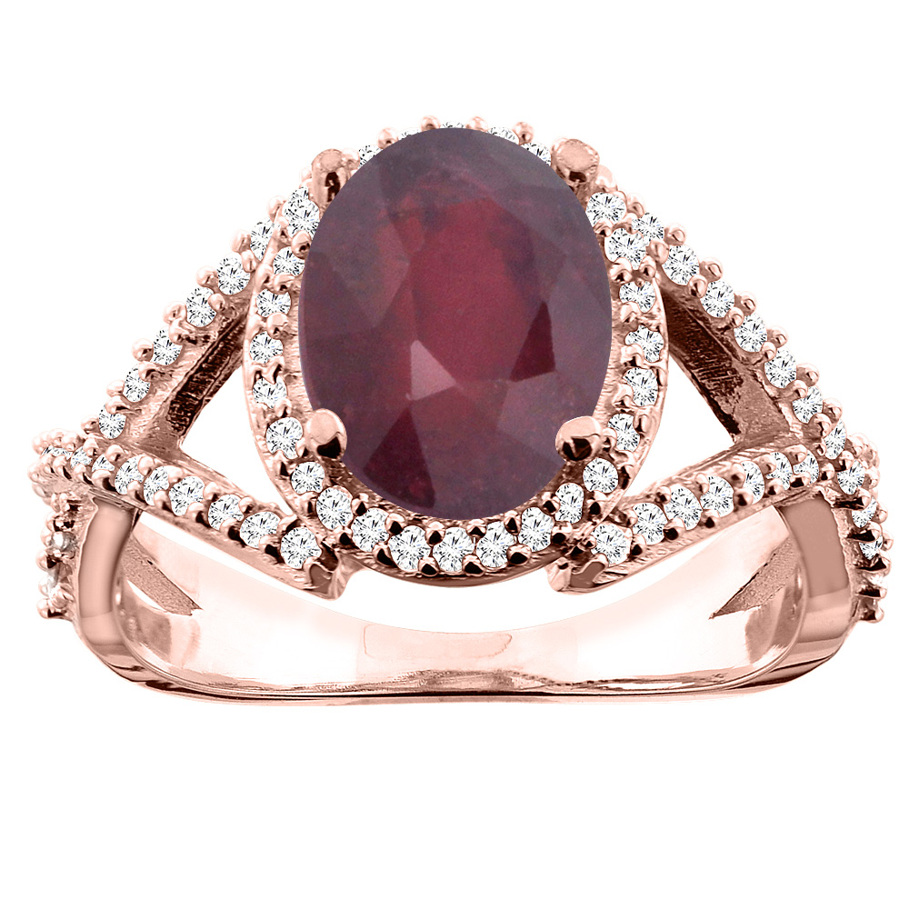 10K White/Yellow/Rose Gold Enhanced Genuine Ruby Ring Oval 10x8mm Diamond Accent, sizes 5 - 10