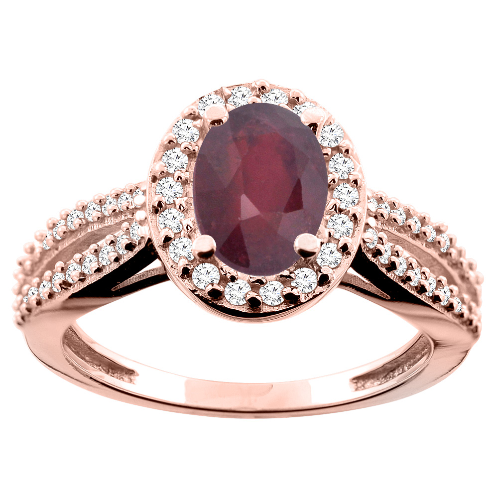 10K White/Yellow/Rose Gold Enhanced Ruby Ring Oval 8x6mm Diamond Accent, size 5