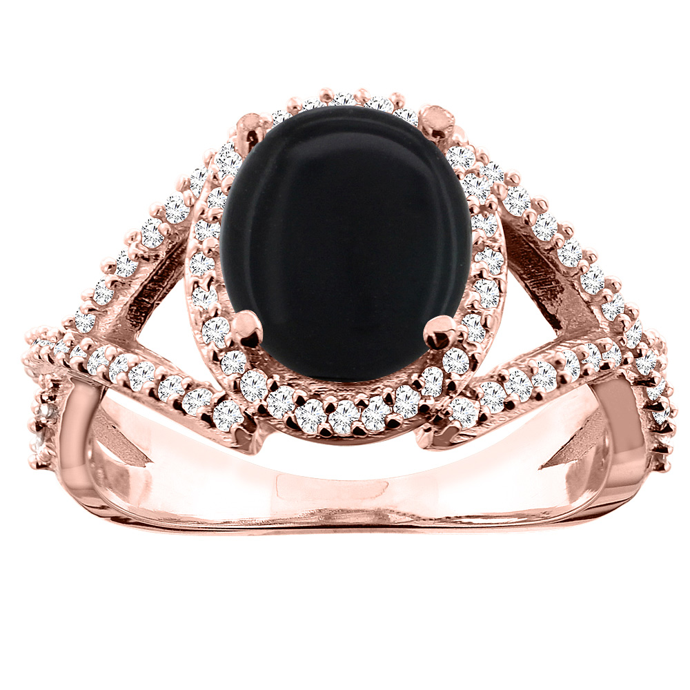14K White/Yellow/Rose Gold Natural Black Onyx Ring Oval 9x7mm Diamond Accent, size 5