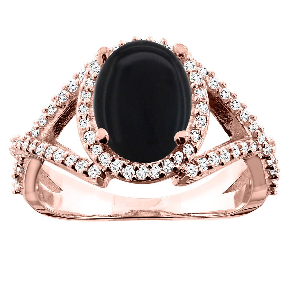 14K White/Yellow/Rose Gold Natural Black Onyx Ring Oval 10x8mm Diamond Accent, sizes 5 - 10