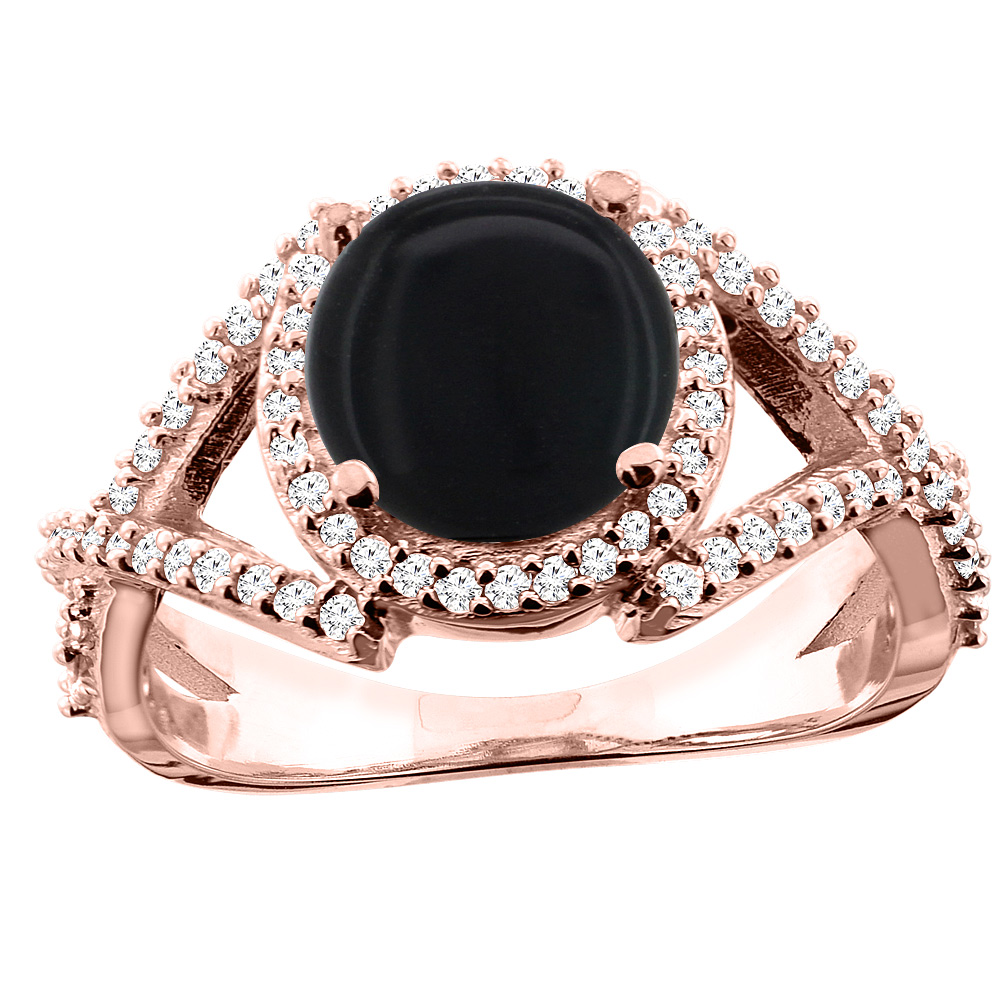 14K White/Yellow/Rose Gold Natural Black Onyx Ring Round 8mm Diamond Accent, size 5