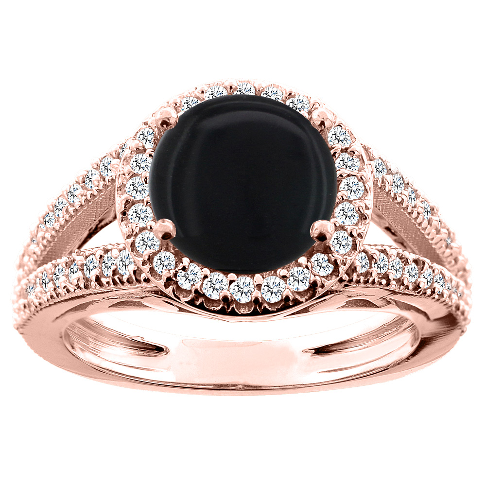 14K White/Yellow/Rose Gold Natural Black Onyx Ring Round 8mm Diamond Accent, sizes 5 - 10