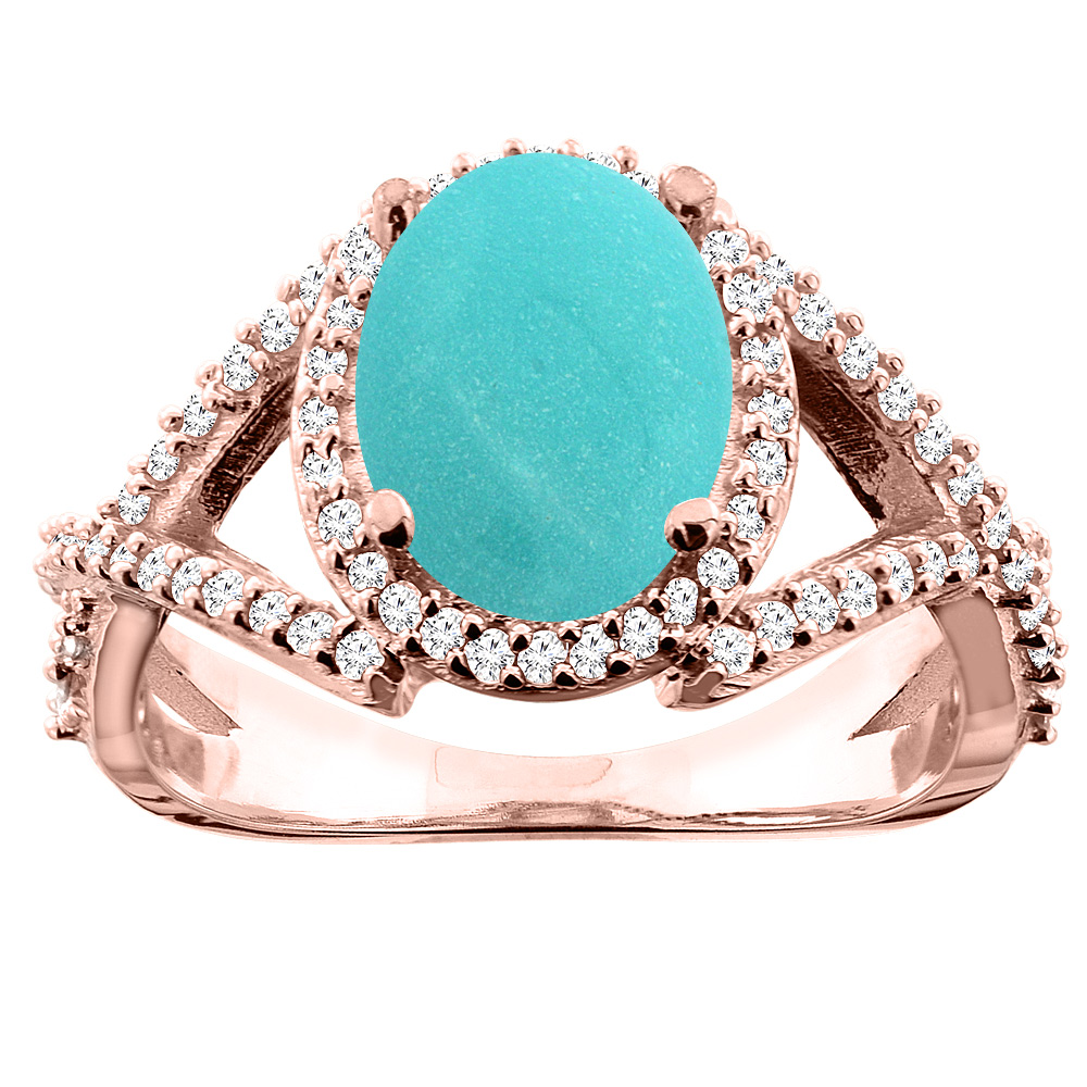 10K White/Yellow/Rose Gold Natural Turquoise Ring Oval 10x8mm Diamond Accent, sizes 5 - 10