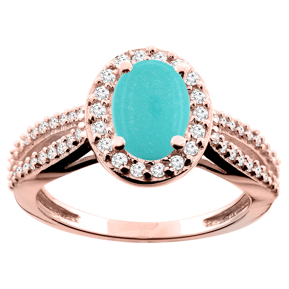 10K White/Yellow/Rose Gold Natural Turquoise Ring Oval 8x6mm Diamond Accent, size 5