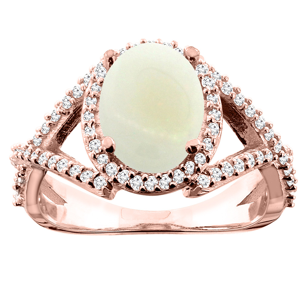 14K White/Yellow/Rose Gold Natural Opal Ring Oval 10x8mm Diamond Accent, sizes 5 - 10