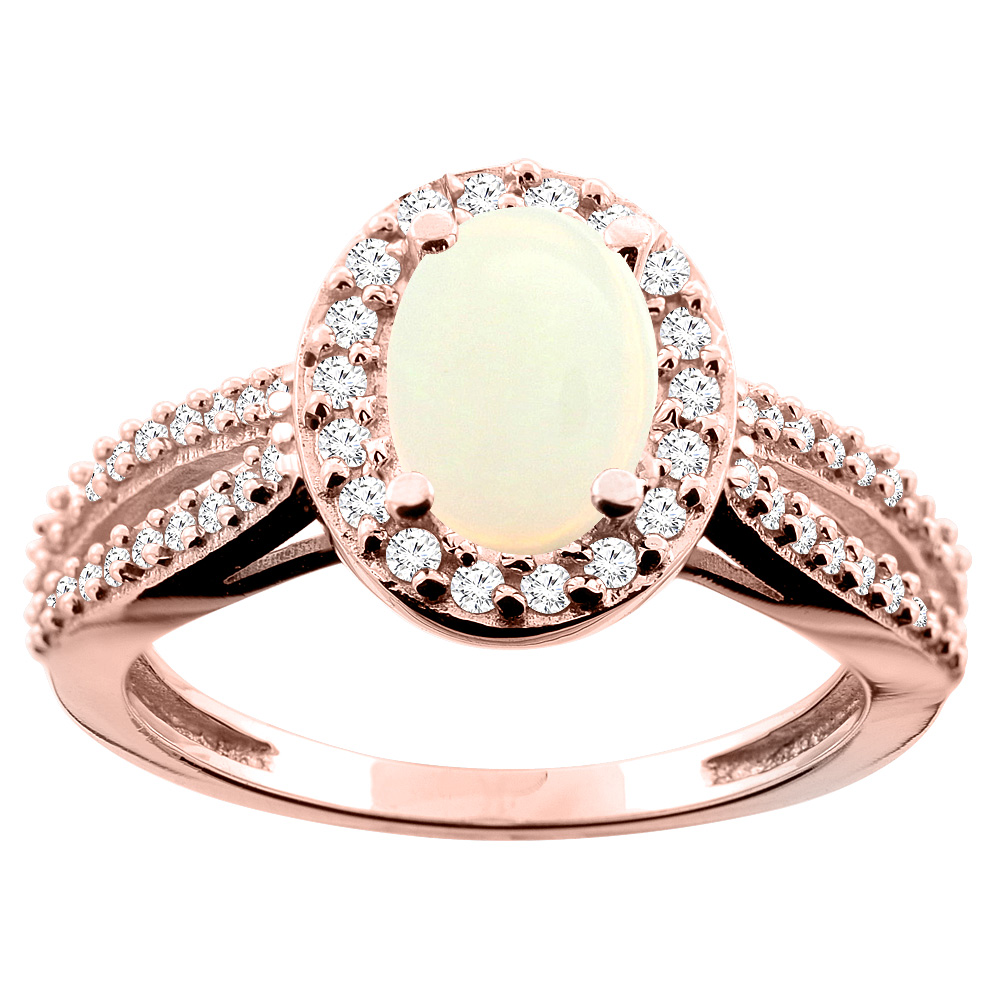 10K White/Yellow/Rose Gold Natural Opal Ring Oval 8x6mm Diamond Accent, size 5