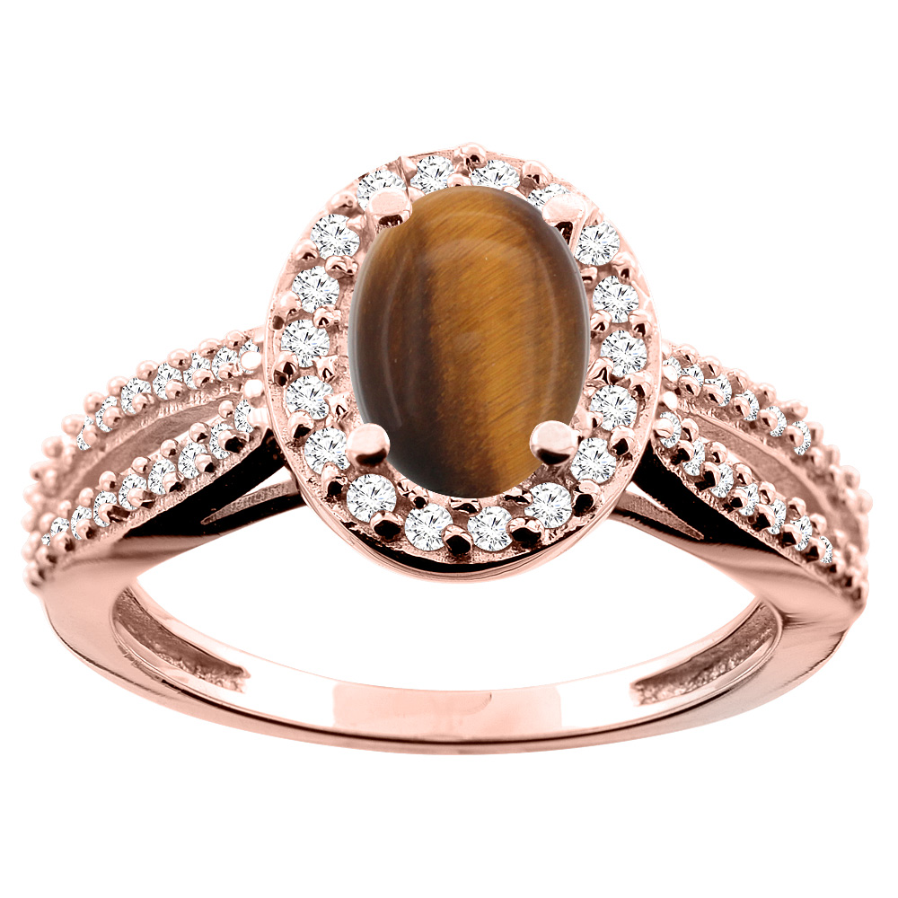 14K White/Yellow/Rose Gold Natural Tiger Eye Ring Oval 8x6mm Diamond Accent, size 5