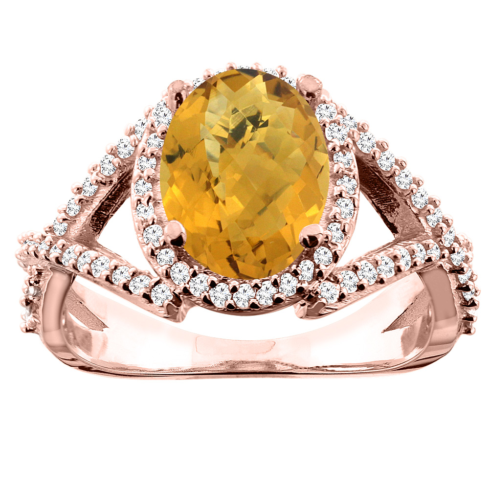10K White/Yellow/Rose Gold Natural Whisky Quartz Ring Oval 10x8mm Diamond Accent, sizes 5 - 10