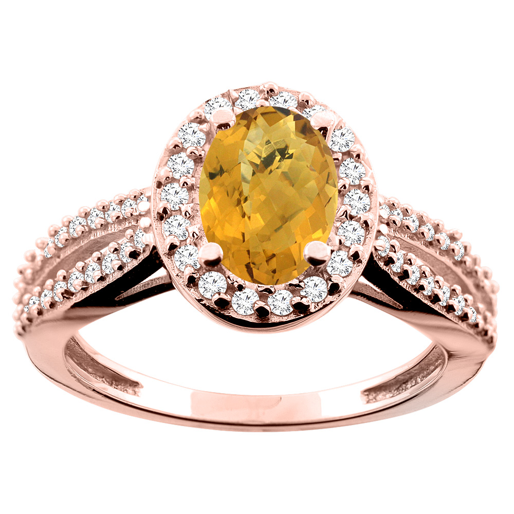 10K White/Yellow/Rose Gold Natural Whisky Quartz Ring Oval 8x6mm Diamond Accent, size 5